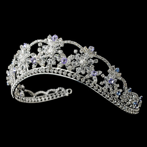 Silver Clear, Light Blue & Amethyst Mix Rhinestone & Swarovski Crystal Bridal Wedding Tiara