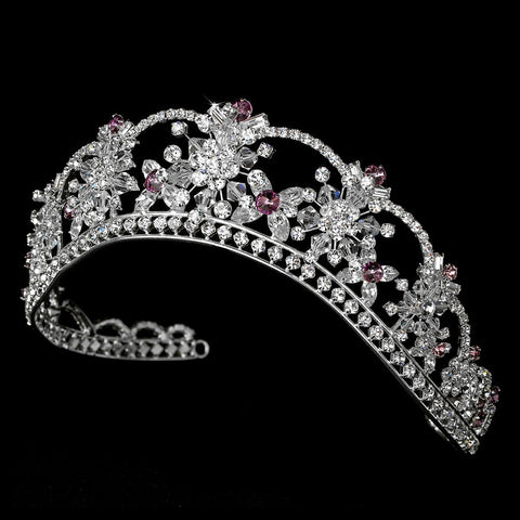 Sparkling Rhinestone & Swarovski Crystal Covered Bridal Wedding Tiara with Amethyst Accents in Silver 523