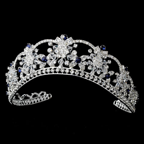 Sparkling Rhinestone & Swarovski Crystal Covered Bridal Wedding Tiara with Navy Accents | Wholesale Accessories Headpieces Bridal Wedding Tiaras
