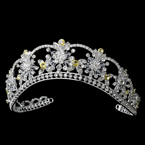 Sparkling Rhinestone & Swarovski Crystal Covered Bridal Wedding Tiara with Yellow Accents in Silver 523