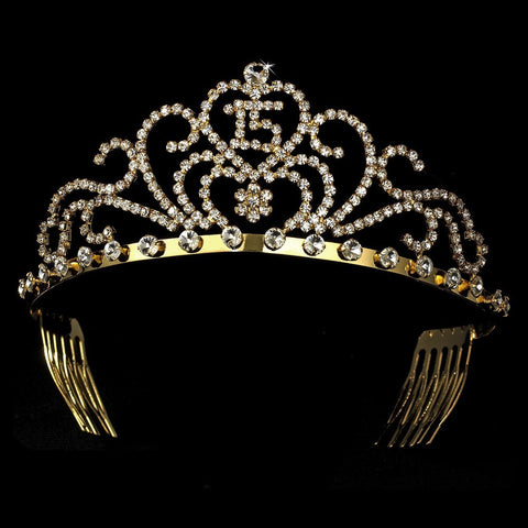 Radiant Gold Rhinestone Birthday Bridal Wedding Tiara Available in Sweet 15 or 16 Silver 6031