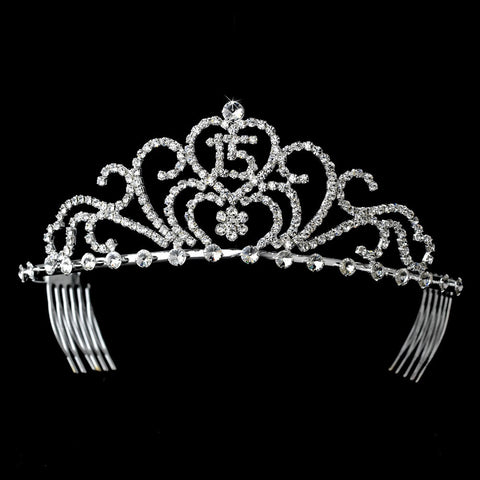 Radiant Silver Rhinestone Birthday Bridal Wedding Tiara Available in Sweet 15 or 16 Silver 6031