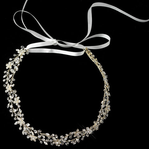 Silver Rhodium Clear Rhinestone Vine Ivory Ribbon Bridal Wedding Headband 6438