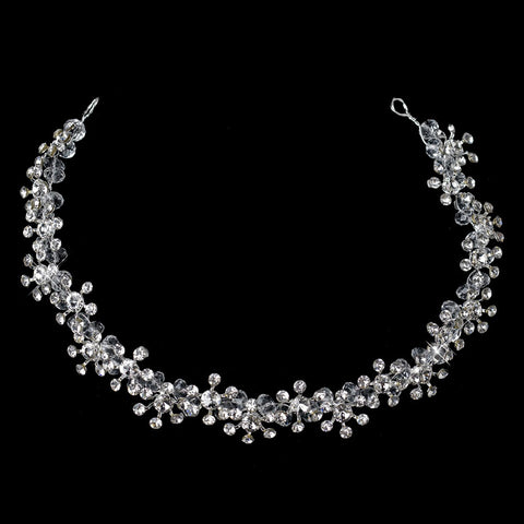Kim Kardashian Inspired Silver Crystal & Rhinestone Flower Browband Bridal Wedding Headband Jewelry Headpiece 6535