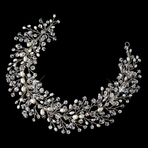 Silver Vine Bridal Wedding Headband with Freshwater Pearl, Swarovski Crystal Bead & Rhinestone Accents 6903