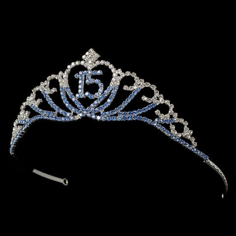 Sparkling Light Blue Covered Quinceanera Rhinestone Bridal Wedding Tiara in Silver 7032