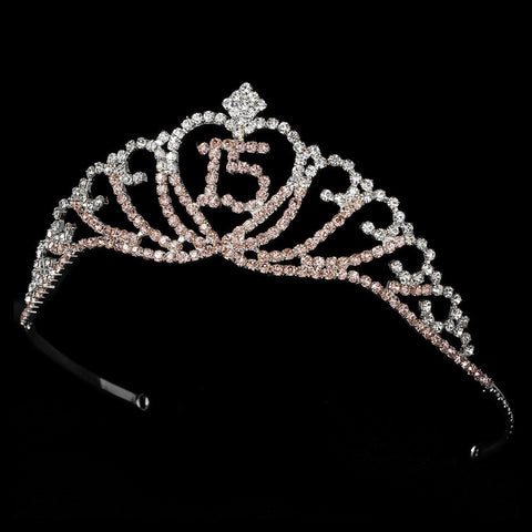 Sparkling Pink & Clear Majestic Quinceanera RhinestoneBridal Wedding Tiara in Silver 7032