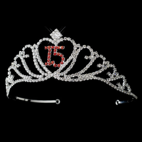 Sparkling Red Majestic Quinceanera Rhinestone Bridal Wedding Tiara in Silver 7032