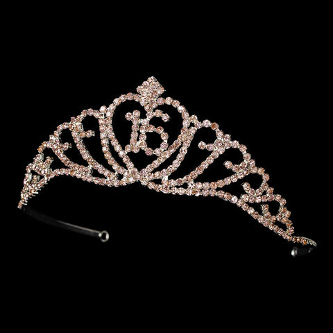 Sparkling All Pink Majestic Sweet 16 RhinestoneBridal Wedding Tiara in Silver 7032