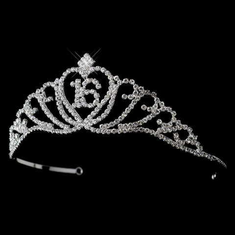 Sparkling Majestic Sweet 16 Rhinestone Bridal Wedding Tiara in Silver Clear 7032