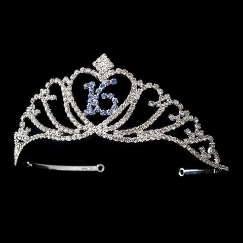 Sparkling Blue Majestic Sweet 16 RhinestoneBridal Wedding Tiara in Silver 7032
