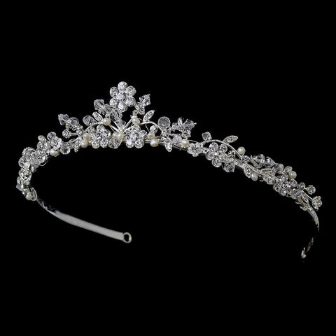 * Swarovski Crystal and Freshwater Pearl Bridal Wedding Tiara HP 7051