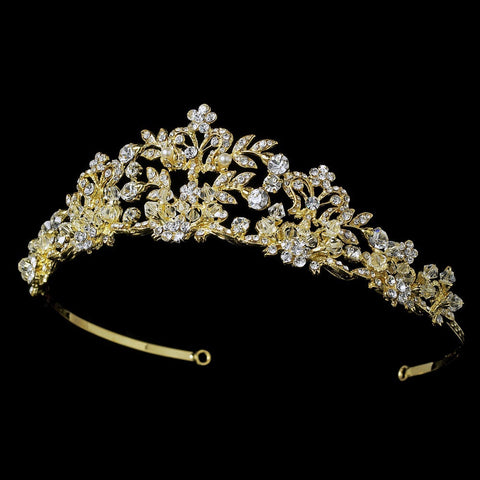 Golden Crystal Bridal Wedding Tiara with Pearl Accents HP 7102