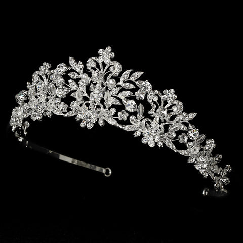 Swarovski Crystal and White Pearl Bridal Wedding Tiara HP 7102