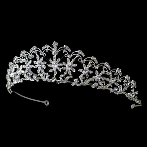 * Silver Clear Rhinestone Sun Floral Bridal Wedding Tiara Headpiece 757