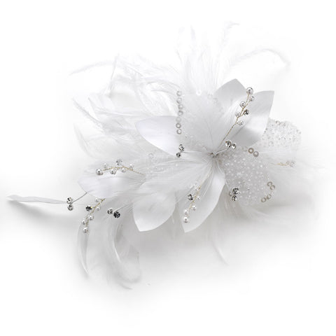 Feather Fascinator with Sequins & Bugle Beads Bridal Wedding Hair Comb/Bridal Wedding Hair Clip 7794