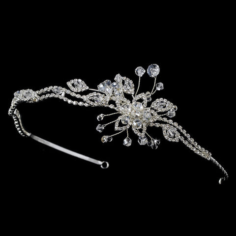 * Crystal Bridal Wedding Headband with Side Accent HP 8223