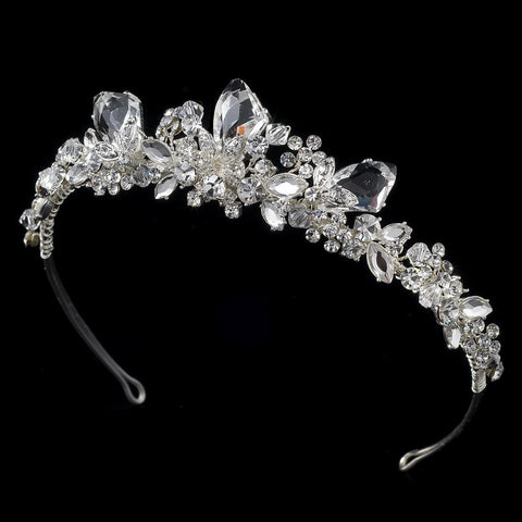 * Silver Swarovski Bridal Wedding Tiara HP 8237