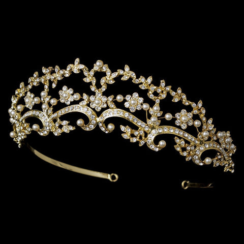 * Beautiful Pearl & Rhinestone Floral Bridal Wedding Tiara Headpiece HP 8316