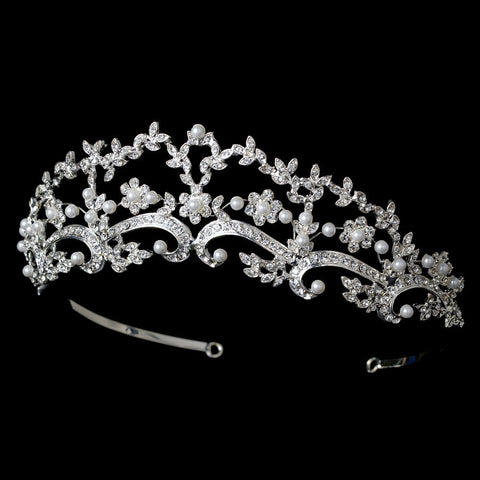 * Beautiful Pearl & Rhinestone Bridal Wedding Tiara HP 8316 (Silver or Gold)