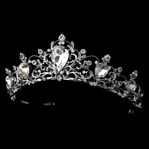 Antique Rhodium Silver Bridal Wedding Tiara Clear Headpiece 8329