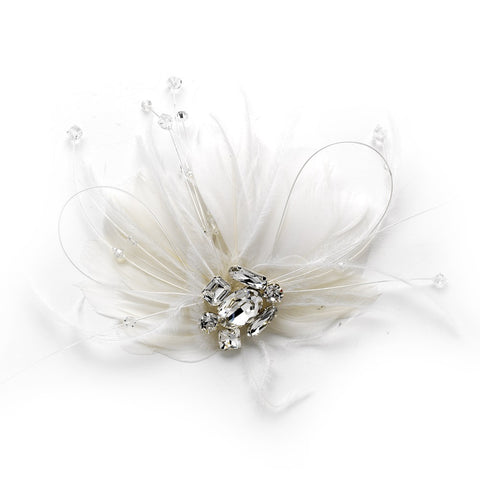 Couture White Feather Spray Bridal Wedding Hair Comb w/ Rhinestones 8401