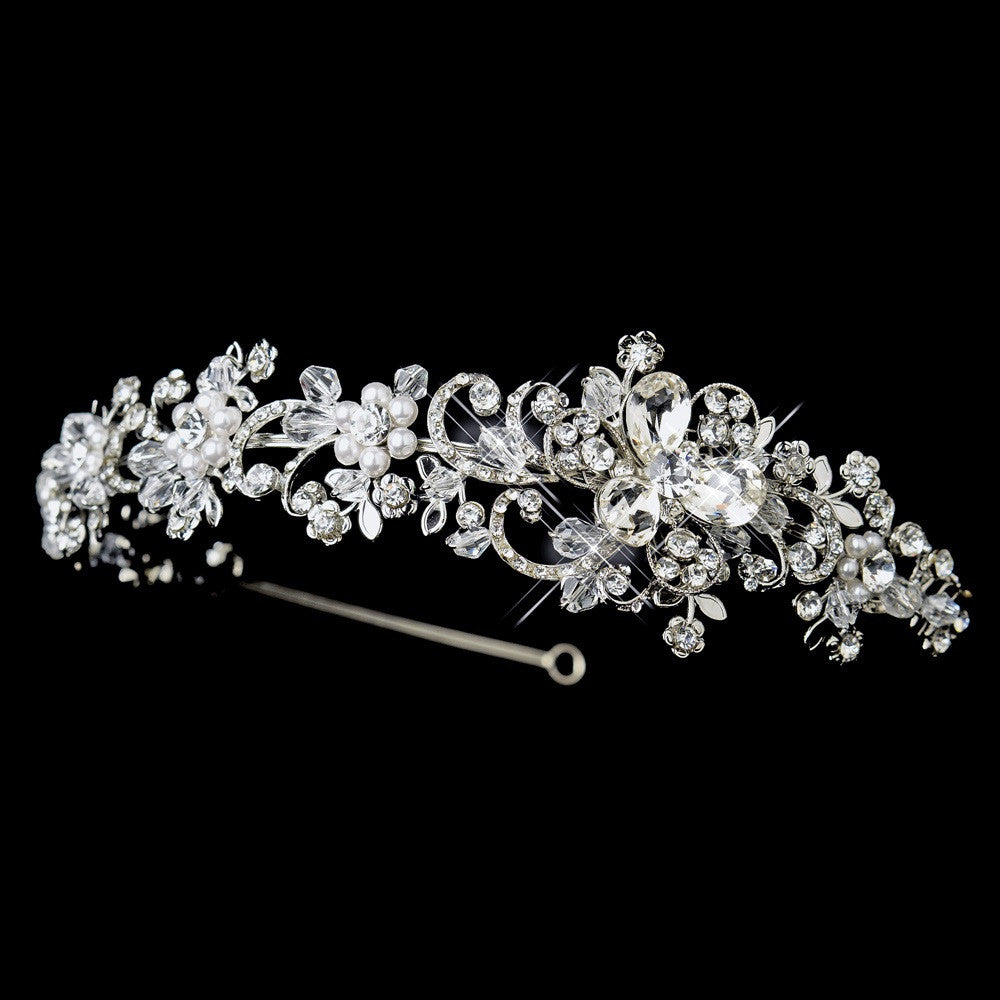 Antique Silver Clear Crystal & White Pearl Side Floral Accented Bridal Wedding Headband Headpiece 918