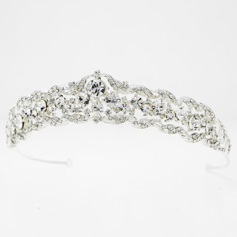 Silver Clear Rhinestone Bridal Wedding Tiara Headpiece 9601