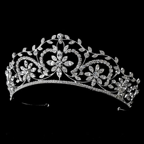 Stunning Silver Clear Crystal Floral Bridal Wedding Tiara 9828