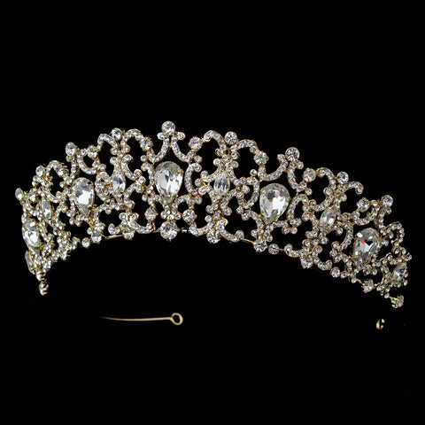 Gold Clear Bridal Wedding Headband Headpiece 9830