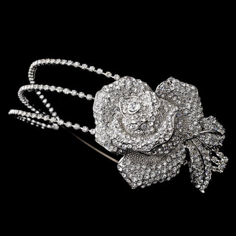 Antique Silver Clear Flower Side Accented Bridal Wedding Headband 9951