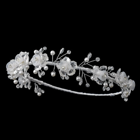 Child's Floral Pearl & Swarovski Crystal Bead Bridal Wedding Headband