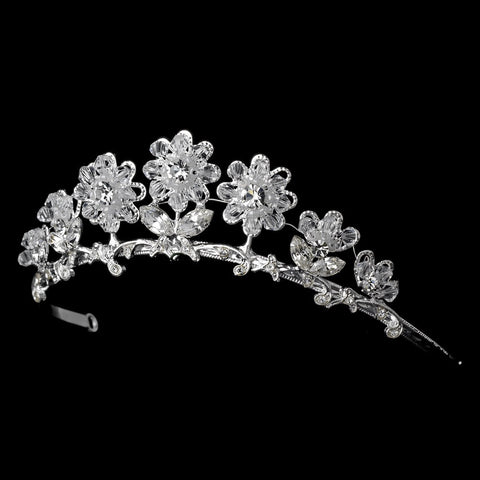 Child's Silver Clear Bridal Wedding Tiara Headpiece 605