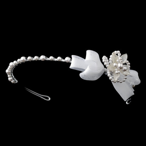Children's White or Ivory Flower Bow Bridal Wedding Headband HP C 7589