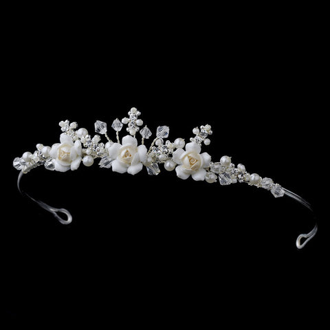 Childrens Flowergirl Crystal & Ivory Rum Porcelain Bridal Wedding Tiara HPC 9323