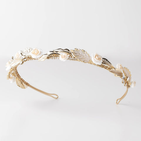 Light Gold Floral Bridal Wedding Headband w/ Golden Leaves, Enameled Champagne Flowers & Rhinestones