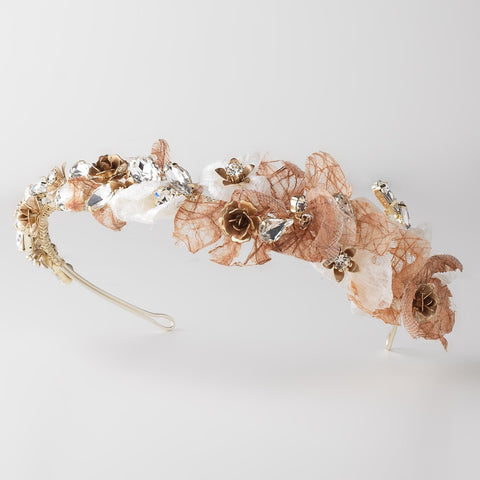 Light Brown Mocha White Tulle Floral Light Golden Brown Accented Bridal Wedding Side Headband w/ Gemstones & Paper Tulle Petals