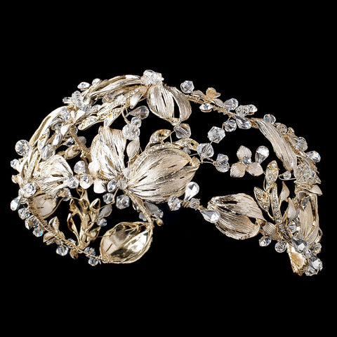 Light Gold Swarovski Crystal Bead & Rhinestone Leaf Bridal Wedding Headband 1564