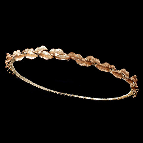 Gold Halo Roman Wreath Leaf Bridal Wedding Headband w/ Golden Brown Leaves