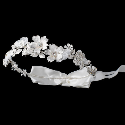 Ivory Satin Ribbon Floral Greek Stefana Bridal Wedding Headband w/ Silver Petals & Rhinestones