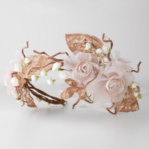 Light Brown Mocha Rum Pink Flower Sheer Organza Shimmer Ribbon Bridal Wedding Headband w/ Paper Tulle Leaves & Twigs