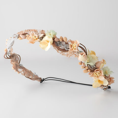 Peach Yellow Floral Soft Fabric Bridal Wedding Headband w/ Swarovski Crystal Beads & Rhinestones