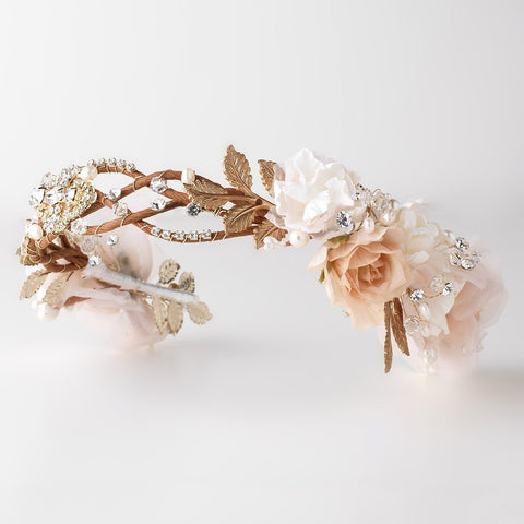 Rum Pink Light Ivory Sheer Organza Floral Bridal Wedding Headband w/ Golden Leaves, Swarovski Crystal Beads, Rhinestones & Freshwater Pearls