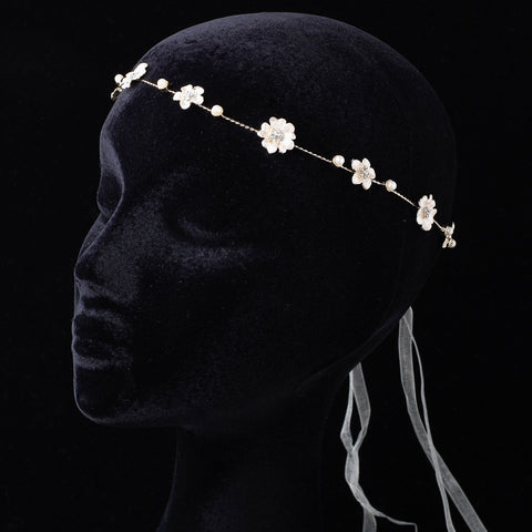 Light Gold Shimmer Ivory Ribbon Floral Greek Stefana Bridal Wedding Headband w/ Rhinestones & Pearls