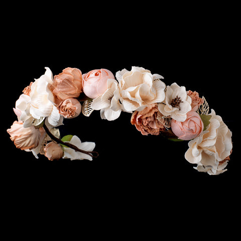 Rum Pink Rose Peach Soft Fabric Organza Flower Bridal Wedding Headband w/ Golden Rhinestone Leaves