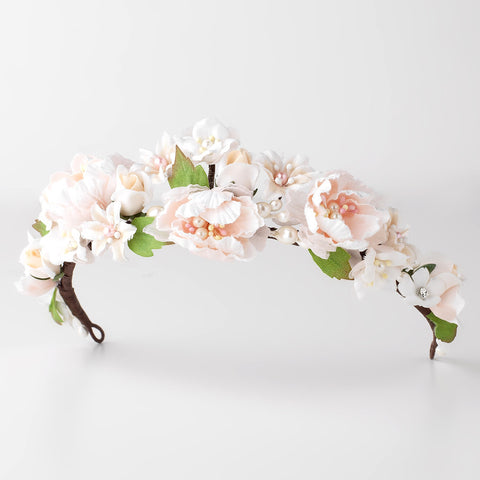 Light Pink Ivory Peach Soft Fabric Organza Flower Bridal Wedding Tiara w/ Pearls & Rhinestones