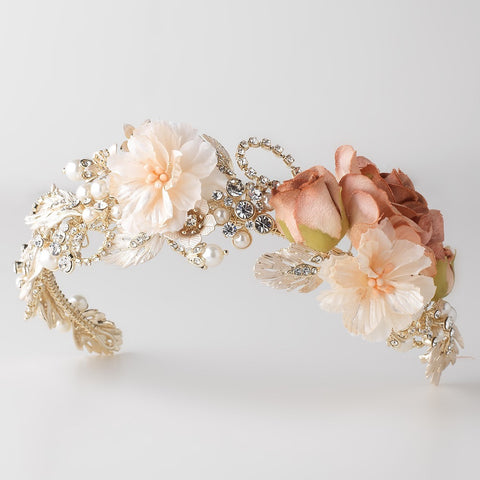 Rum Pink Rose Peach Soft Fabric Organza Flower Bridal Wedding Headband w/ Golden Leaves, Pearls & Rhinestones