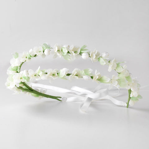 White & Green Organza Floral Double Ribbon Bridal Wedding Headband