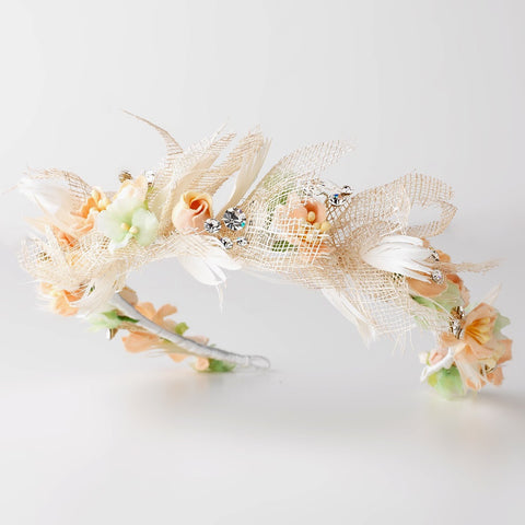 Ivory Peach Straw Mesh Organza Fabric Bridal Wedding Headband w/ Feathers & Rhinestones