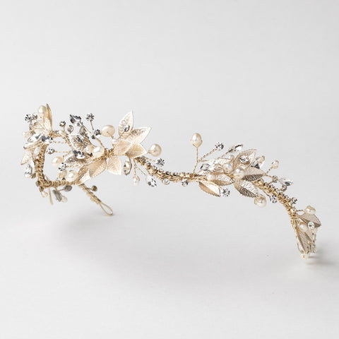 Light Gold Modern Floral Freshwater Pearl & Rhinestone Leaf Bridal Wedding Headband 1560